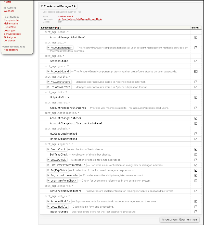 screenshot of components admin page - v0.4