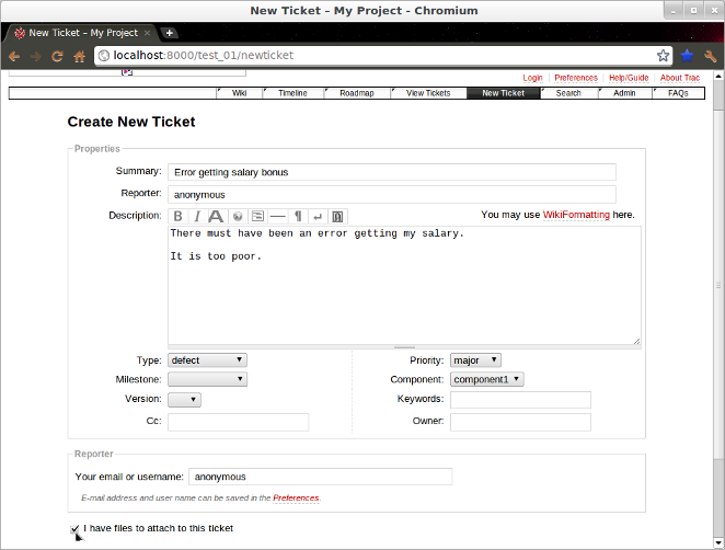 Screenshot showing Ticket attachment step 1