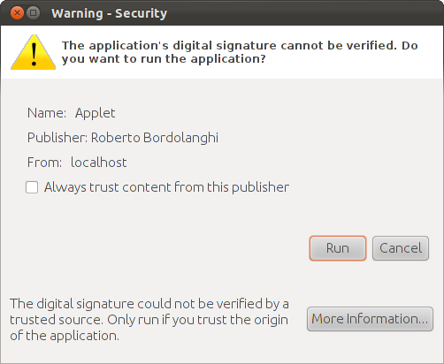 Screenshot showing Java security question