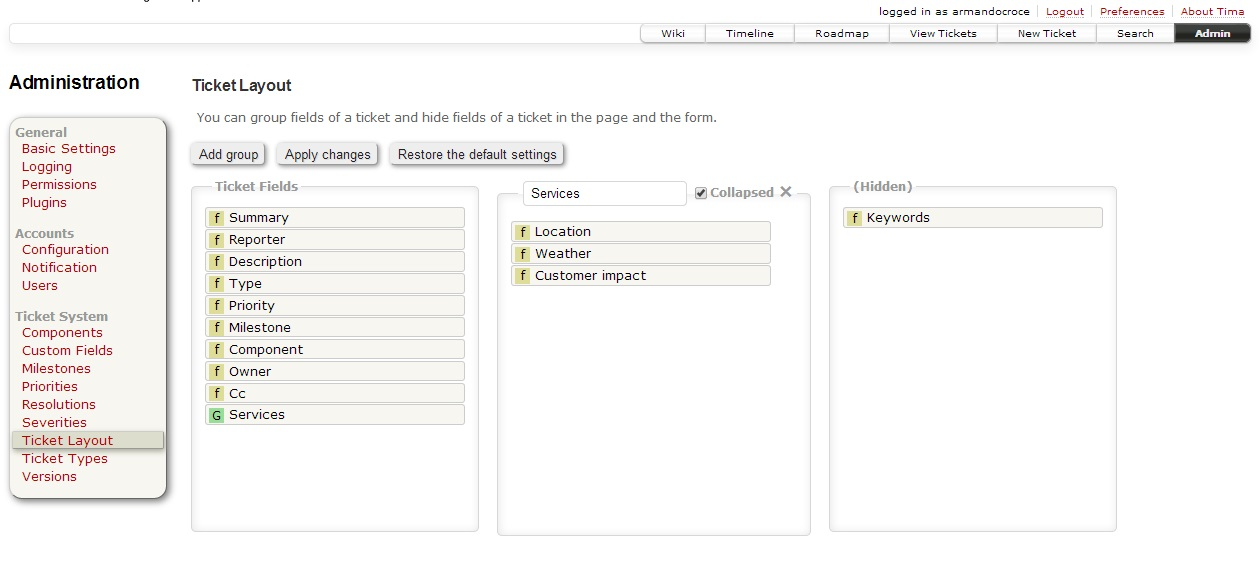 Ticket Layout admin panel