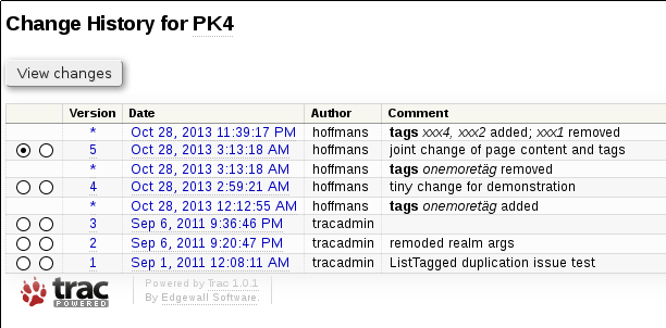 preview at Trac 1.0 wiki change history view with tag revisions enabled