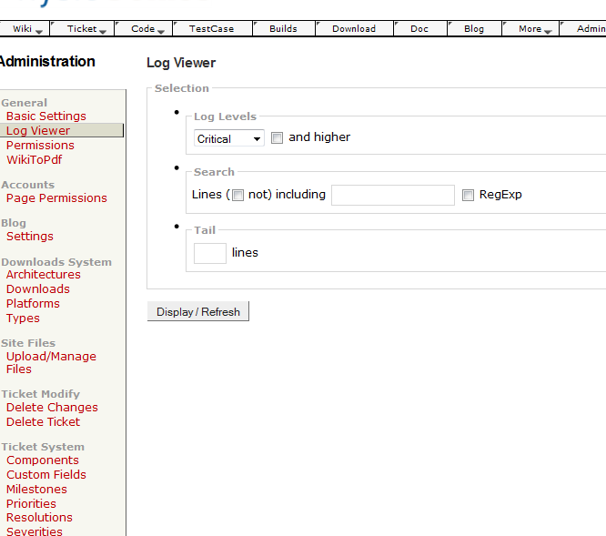 Screen capture of !LogViewer with ThemeEnginePlugin disabled.