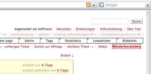 »Restore Form« button of a patched version of DataSaverPlugin in German Trac 0.12 test environment