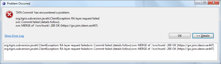 subversion reported an error