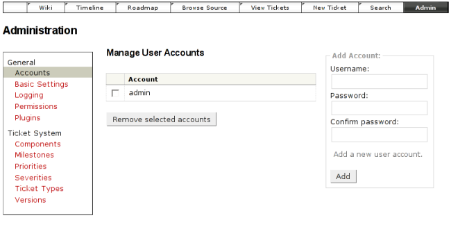 screenshot of account administration
