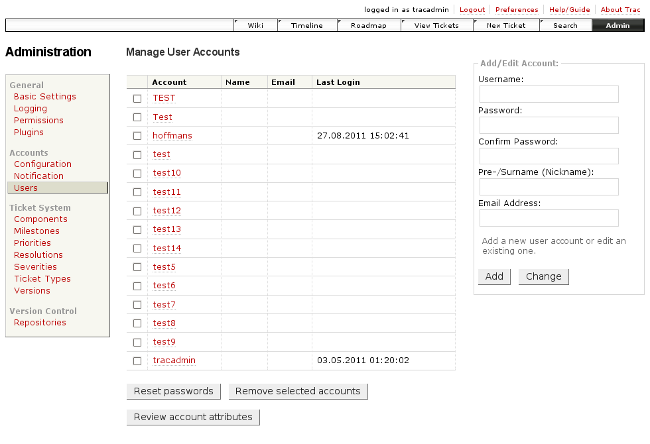screenshot of account administration - v 0.4
