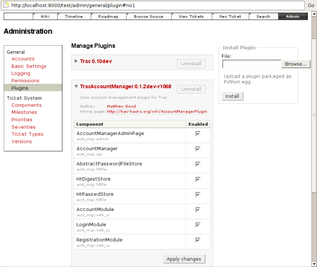 screenshot of components web admin