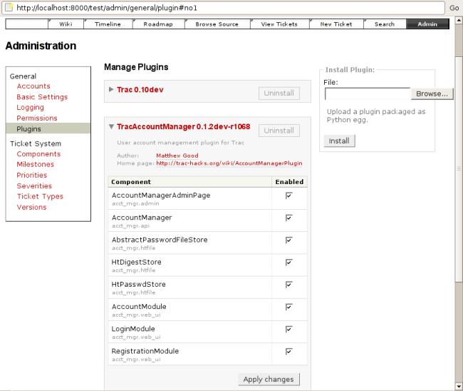 AccountManagerPlugin – Trac Hacks - Plugins Macros etc