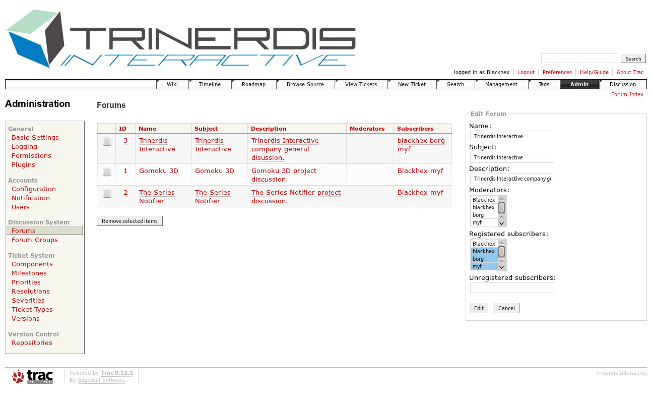 Screenshot of administration interface.