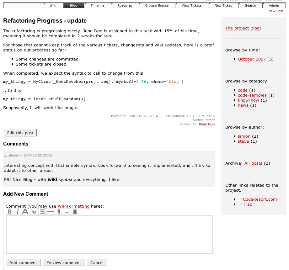 A screenshot of FullBlogPlugin post view with commenting.
