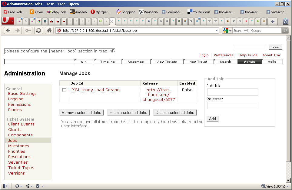 Jobcontrol's job Admin screen