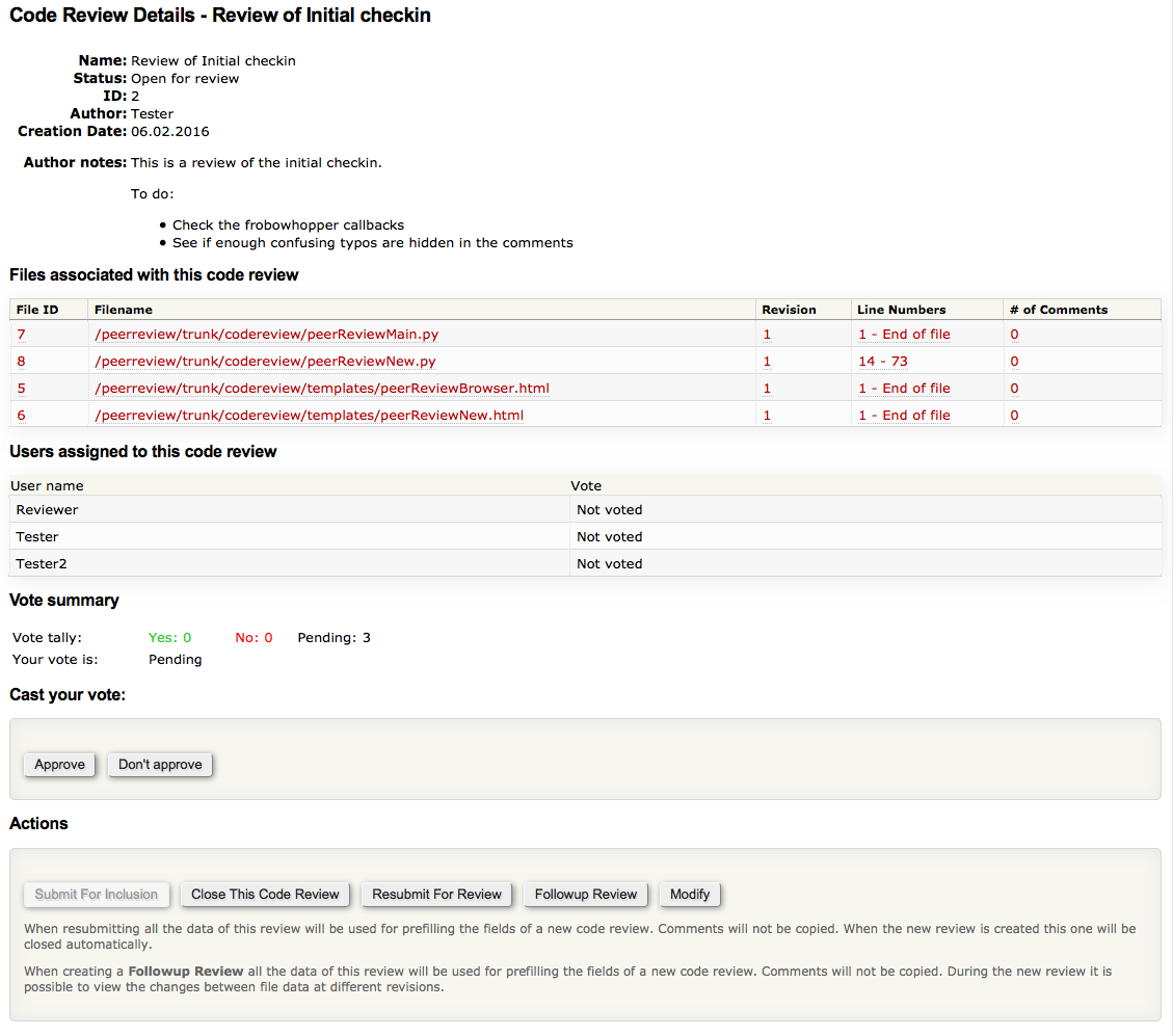 Screenshot of code review detail page