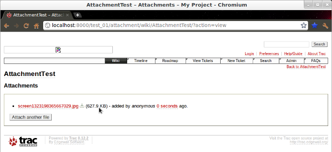 Screenshot showing the screenshot attachment paste section in wiki page