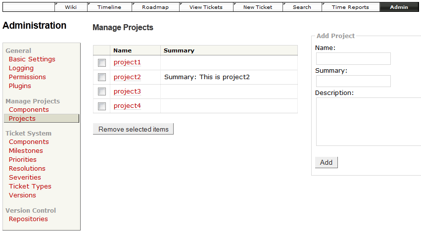 project admin interface