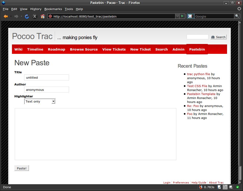 TracPastePlugin – Trac Hacks - Plugins Macros etc