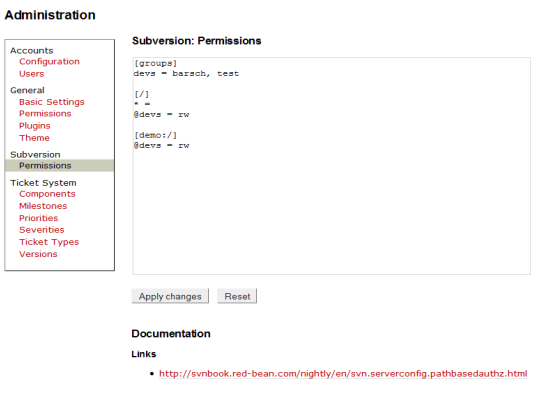 TracSvnAuthzPlugin administration screen