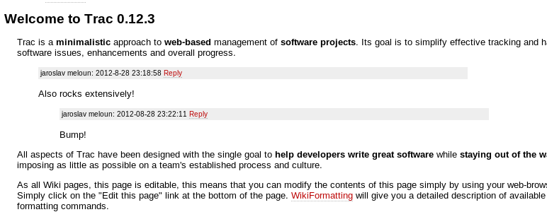 Trac wiki comments: display of comment