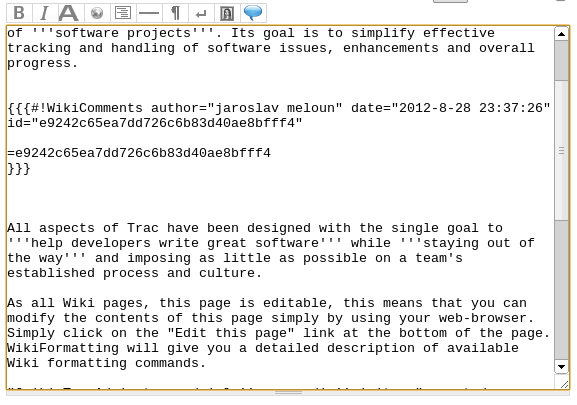 Trac wiki comments: wikiformatting of comment