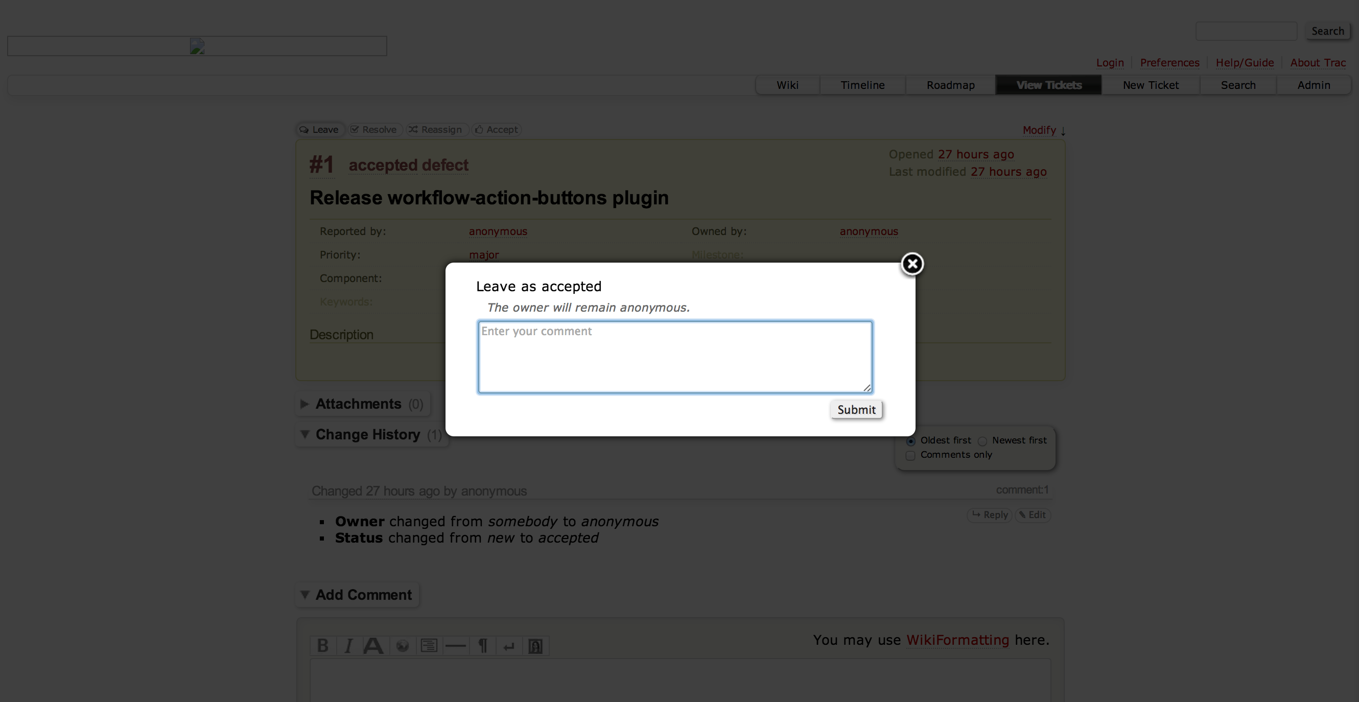 Screenshot of the plugin's modal form prompting the user for additional information after an action button is clicked